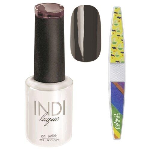 Набор для маникюра Runail пилка для ногтей и гель-лак INDI laque, оттенок 3096 набор для нейл арта пилка для ногтей runail professional гель лак indi laque тон 3708 9 мл