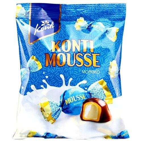 Конфеты Konti Мусс молоко, желейная начинка, карамельный и сливочный вкус, пакет 240 г конфеты konti tom