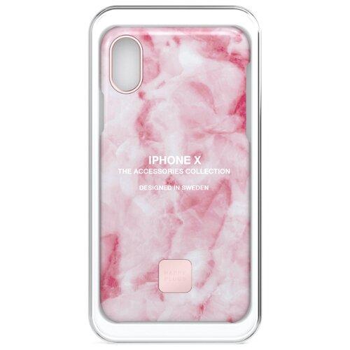 Чехол-накладка Happy Plugs 9161 + защитная пленка для Apple iPhone X/Xs розовый чехол накладка happy plugs 9160 защитная пленка для apple iphone x xs white marble