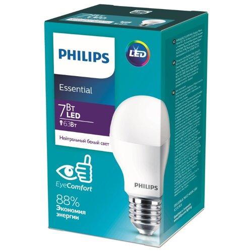 Лампа светодиодная Philips Essential LED 1CT 4000К, E27, A55, 7Вт philips светодиодная лампа 4 режима света