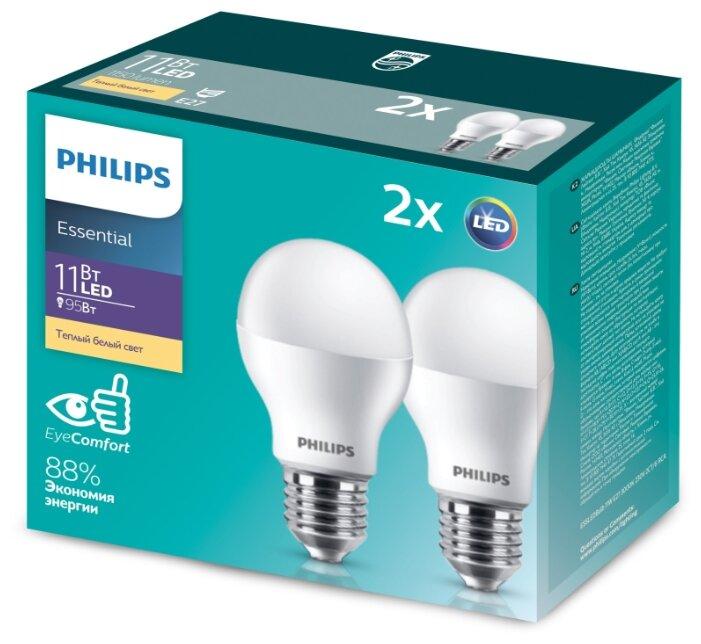 Лампа светодиодная ESSLEDBulb 11Вт E27 3000К 230В 2CT/6 RCA (уп.2шт) Philips 929001900227 / 871869682216600, 1упак. 2шт