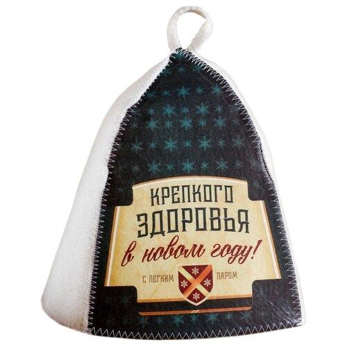 Банная забава Банная шапка Крепкого здоровья черный/белый