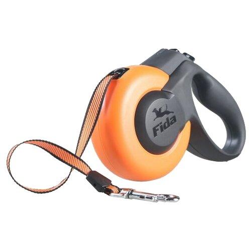 Поводок-рулетка для собак Fida Mars тросовая (M) оранжевый/черный 5 мПоводки для собак<br>