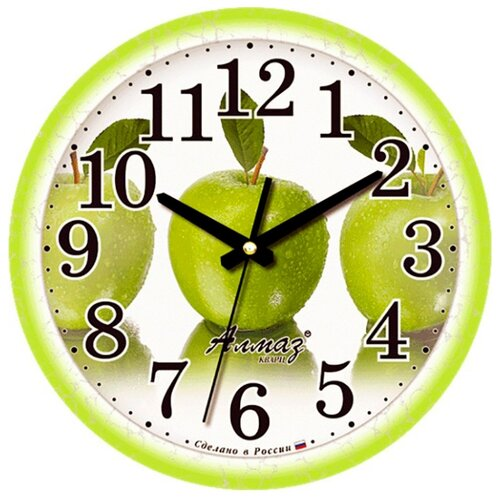 Часы настенные кварцевые Алмаз B36 зеленый/белый часы настенные кварцевые алмаз p12 золотистый белый
