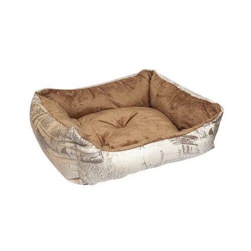 Лежак для собак и кошек Зооник Милано 52х45х17 см бежевый/коричневый