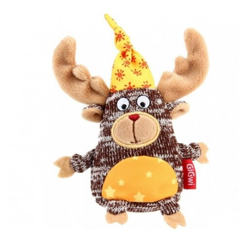 Игрушка для собак GiGwi Plush Friendz Лось (75400) коричневый/бежевый игрушка для собак gigwi plush friendz белка 75309 коричневый бежевый