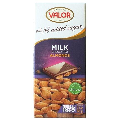 Шоколад Valor молочный без сахара с миндалем, 150 г туфли valor wolf valor wolf va090amcito7
