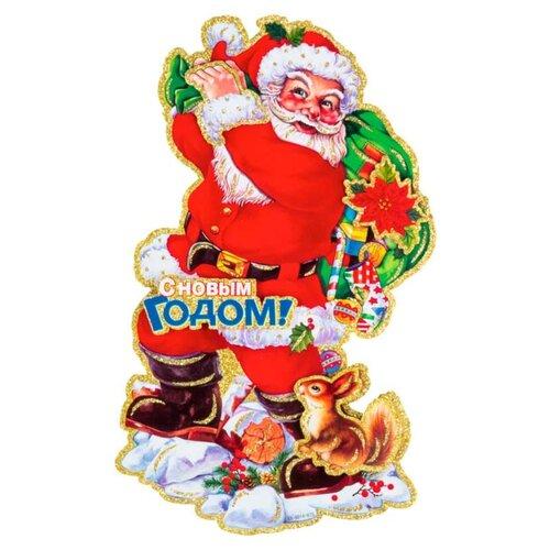 Наклейка интерьерная Волшебная страна Дед мороз с подарками 46 х 28 см, красный волшебная страна световое панно дед мороз на упряжке 20 ламп 44 5х24 см волшебная страна