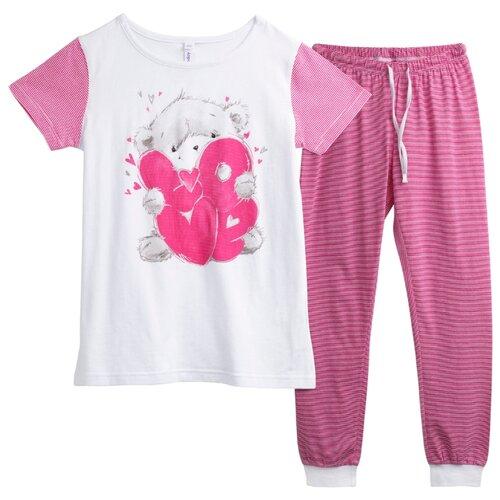 Купить Пижама playToday размер 98, белый/светло-розовый, Домашняя одежда