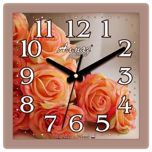 Часы настенные кварцевые Алмаз K08 серый/розовый часы настенные кварцевые алмаз e66 серый