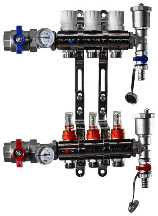 """Коллекторная группа Tim (KA003) 1"""", 3 вых., расходомер, воздухоотводчик, сливной кран, термометр"""