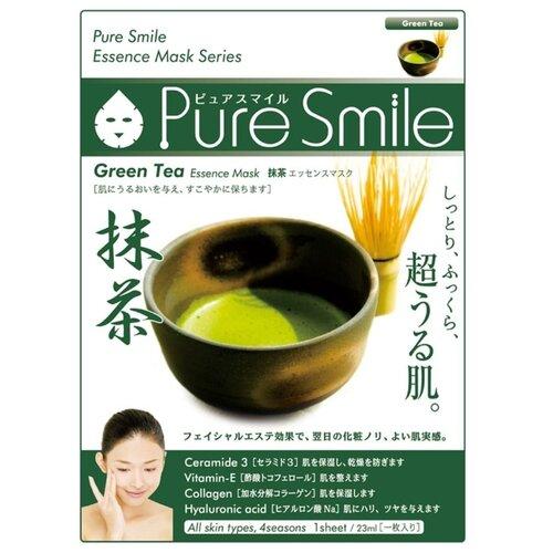Sun Smile тканевая маска Pure smile Green Tea Essence с экстрактом зеленого чая, 23 мл sun smile essence маска для лица успокаивающая с экстрактом зеленого чая 1 шт