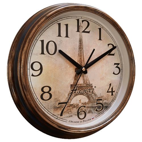 цена на Часы настенные кварцевые Алмаз A39 коричневый/бронза