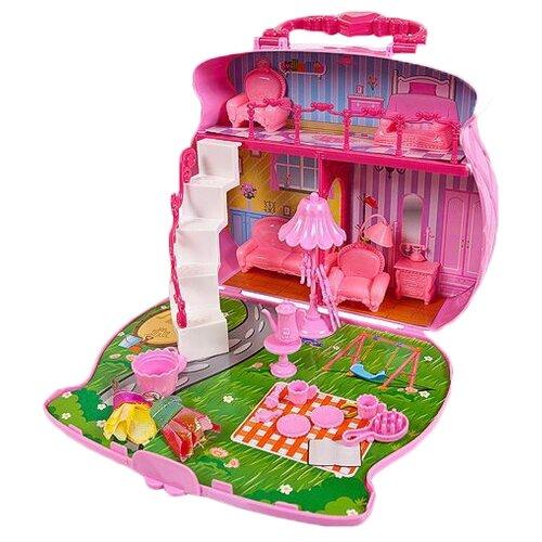 Купить ABtoys домик-сумка В гостях у куклы PT-01107, розовый, Кукольные домики