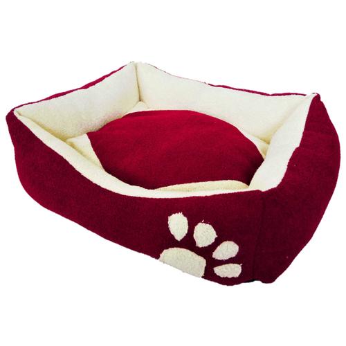 Лежак для собак и кошек LOORI Лапка Z1439 45х35х13 см красный