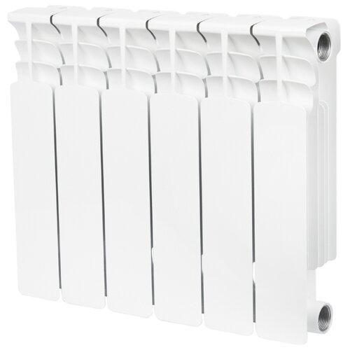 Радиатор секционный биметаллический STOUT Space 350 x6 теплоотдача 780 Вт, 6 секций, подключение универсальное боковое RAL 9016 секционный радиатор stout space 500 биметаллический srb 0310 050009 белый 9 секций