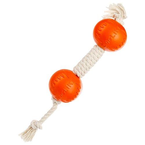 Гантель для собак Doglike Dental Knot канатная малая (D-2370) белый/оранжевый