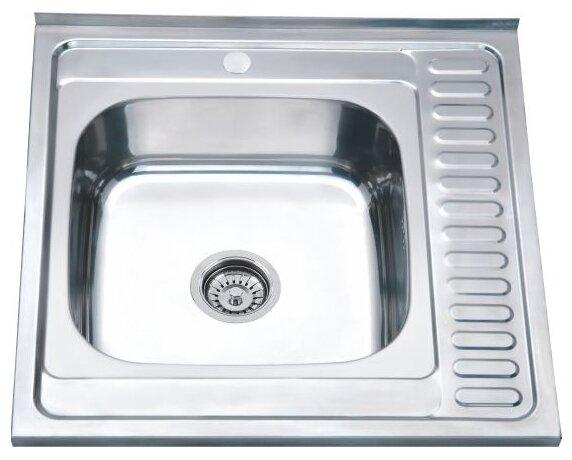 Накладная кухонная мойка Ростовская Мануфактура Сантехники MS6-6060L 60х60см нержавеющая сталь
