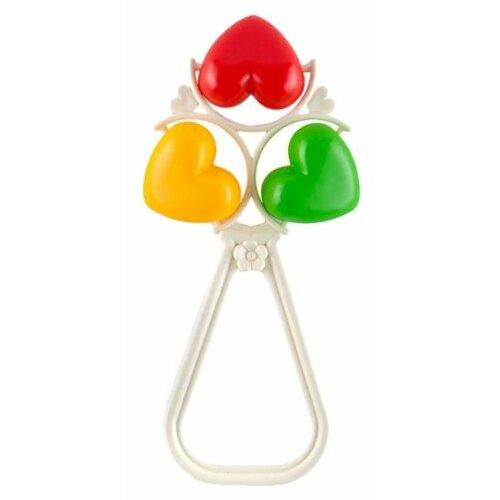 Купить Погремушка Пластмастер Сердечки желтый/красный/зеленый, Погремушки и прорезыватели