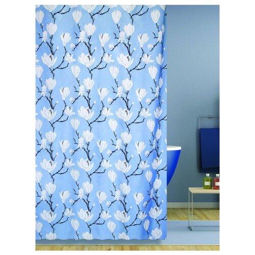 Штора для ванной Bath Plus Magnolia 180х200 голубой/белый