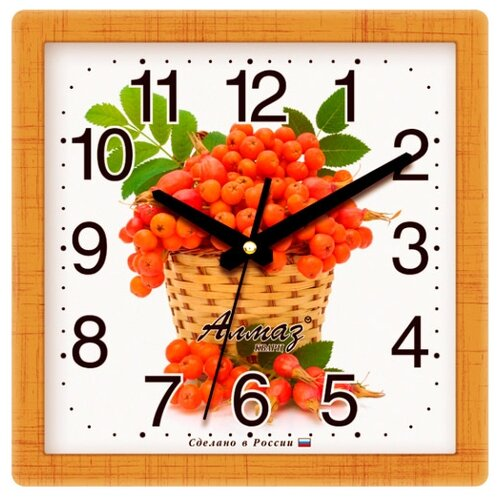 Часы настенные кварцевые Алмаз M07/M14/M24 коричневый / оранжевый