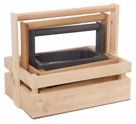 Ящик Дарите счастье набор 3 в 1 с шильдиком и ручкой Улыбайся Мечтай Люби 30×21×26 см