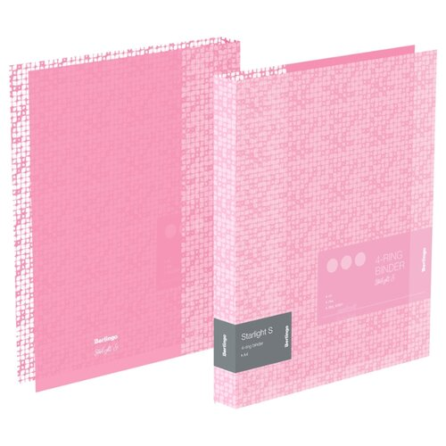 Купить Berlingo Папка на 4-х кольцах Starlight S А4, 24 мм, 600 мкм, пластик розовый, Файлы и папки