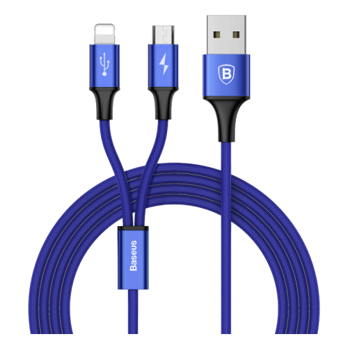 Кабель Baseus Rapid Series 2-in-1 USB - microUSB/Lightning (CAML) 1.2 м blue