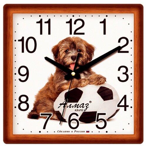 Часы настенные кварцевые Алмаз M48 коричневый/белый часы настенные кварцевые алмаз a58 коричневый белый