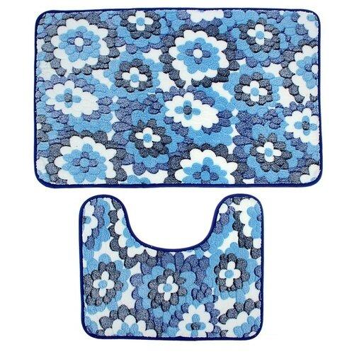 Комплект ковриков Доляна 1019713, 50х80, 40х50 см голубые цветы