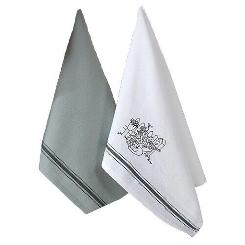 Allegro Набор вафельных полотенец КАНТРИ кухонное 45х60 см белый/зеленыйПолотенца<br>