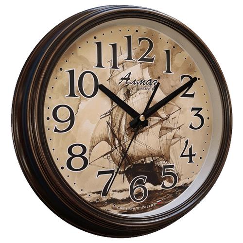 Часы настенные кварцевые Алмаз A41 темно-коричневый/бежевый