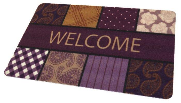Придверный коврик RemiLing Узоры, размер: 0.68х0.45 м, фиолетовый/коричневый
