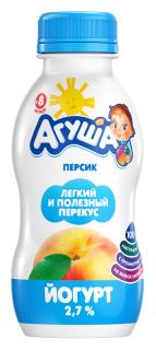 Йогурт питьевой Агуша детский персик (с 8-ми месяцев) 2.7%, 200 г
