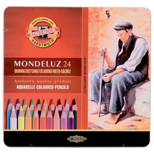 Купить KOH-I-NOOR Акварельные карандаши Mondeluz, 24 цвета (3724024001PL), Цветные карандаши