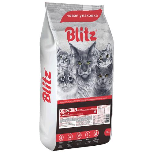 Сухой корм для кошек Blitz для вывода шерсти, с курицей 10 кг