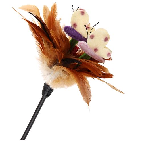 Дразнилка для кошек GiGwi Feather Teaser с ручкой (75429) коричневый/черный дразнилка для кошек gigwi feather teaser с ручкой 75429 коричневый черный