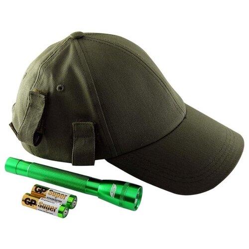 Ручной фонарь SOLARIS F-5 с бейсболкой зеленый