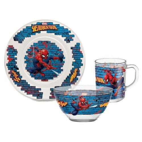 Набор для завтрака PRIORITY Человек паук, 1 персона белый/синий/красный