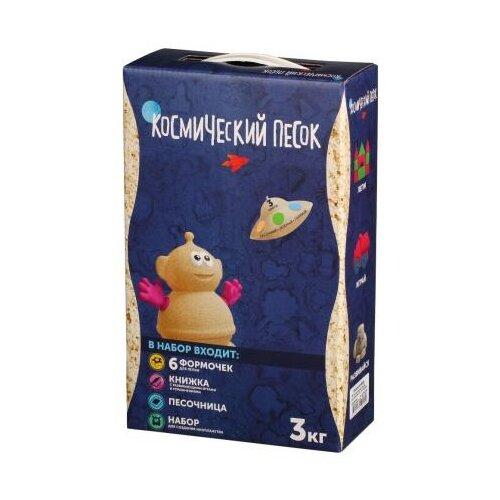Купить Кинетический песок Космический песок набор 3 цвета с песочницей и формочками (KPN3SGB), песочный/зеленый/голубой, 3 кг
