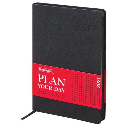 Купить Ежедневник BRAUBERG Stylish датированный на 2021 год, искусственная кожа, А5, 168 листов, черный, Ежедневники, записные книжки
