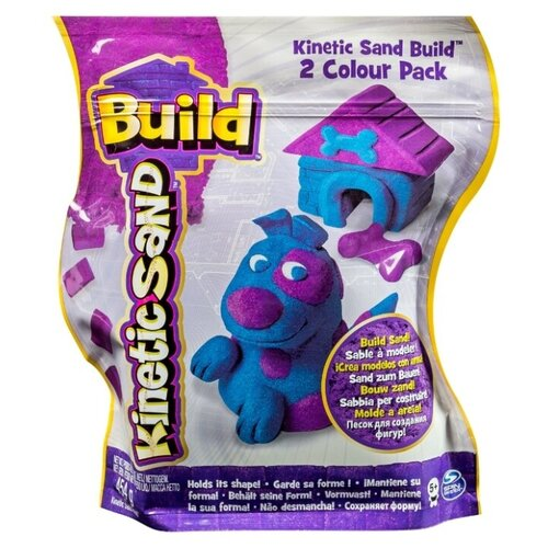 Кинетический песок Kinetic Sand Build, 2 цвета, голубой/фиолетовый, 0.45 кг, пакет кинетический песок angel sand творчество 3 цвета 1 2 л