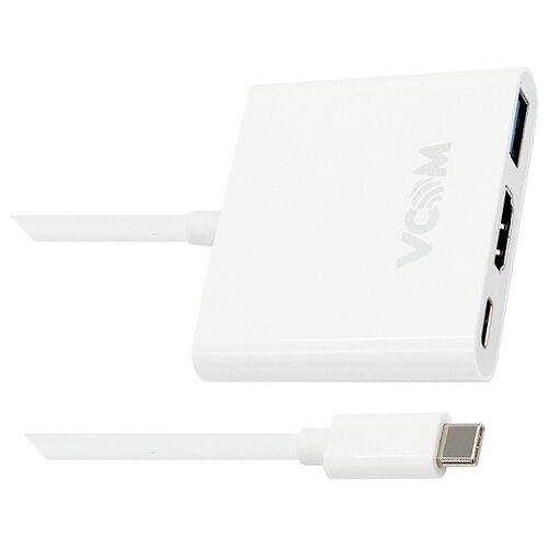 USB-концентратор VCOM CU427, разъемов: 3, белый концентратор usb 3 0 vcom telecom dh311 3 х usb 3 0 1 х usb 2 0 белый