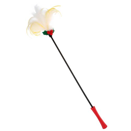 Дразнилка для кошек GiGwi X-Mas Tales на стеке с резиновой ручкой (75475) красный/черный/белый дразнилка для кошек gigwi feather teaser с ручкой 75429 коричневый черный