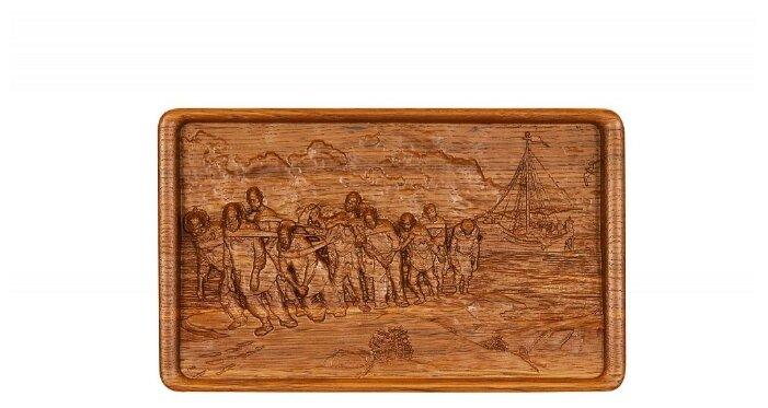 Домино Rovertime в резной шкатулке Бурлаки на Волге, мореный дуб