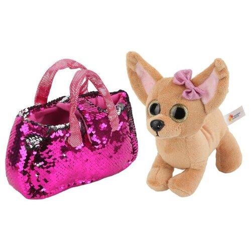Купить Мягкая игрушка Играем вместе Собака чихуахуа в розовой сумочке из пайеток 19 см, Мягкие игрушки
