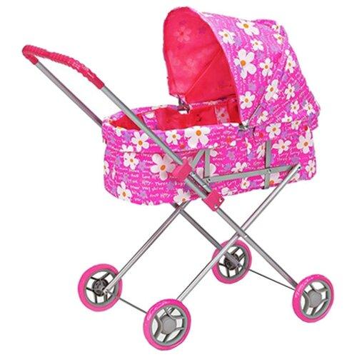 Купить Коляска-люлька Melobo / Melogo Классическая (9308) розовый Цветочки , Коляски для кукол