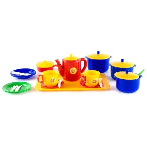 Набор посуды Пластмастер Хозяюшка 21006 разноцветный игровой набор playgo хозяюшка