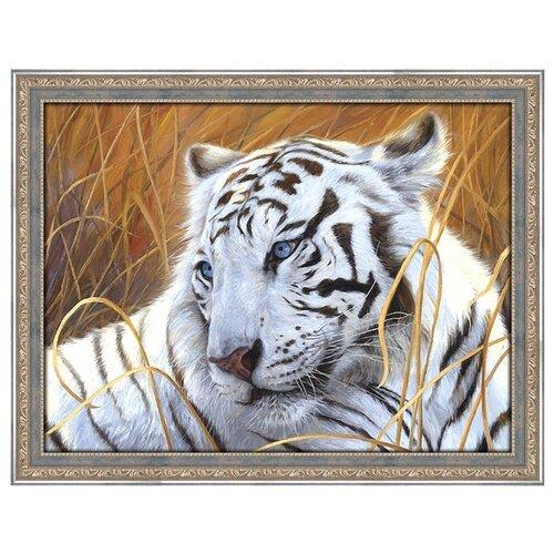 Алмазная живопись Набор алмазной вышивки Белый тигр (АЖ-1401) 40x30 см