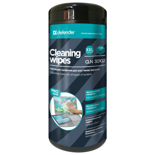 цена на Defender Cleaning Wipes CLN 30102 влажные салфетки 100 шт. для экрана